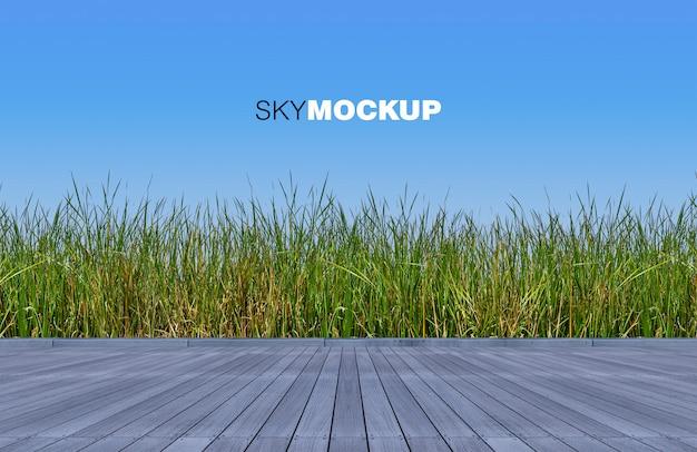 3d Odpłaca Się Drewnianą Podłoga I Zielonego Koloru Dzikie Trawy Premium Psd