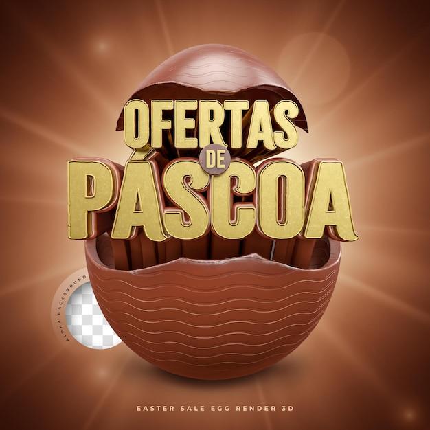 3d Render Oferty Wielkanocne W Brazylijskim Czekoladowym Jajku Premium Psd