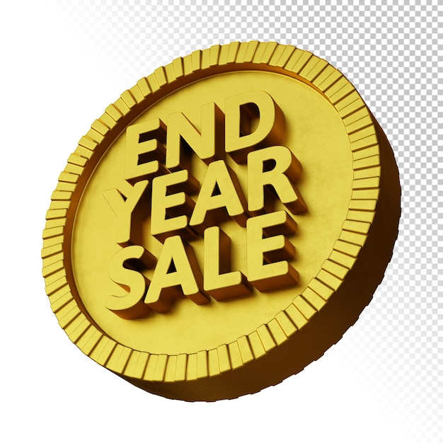 3d Render Promocji Sprzedaży Na Koniec Roku Ze Złotą Odważną Okrągłą Odznaką Na Białym Tle Premium Psd