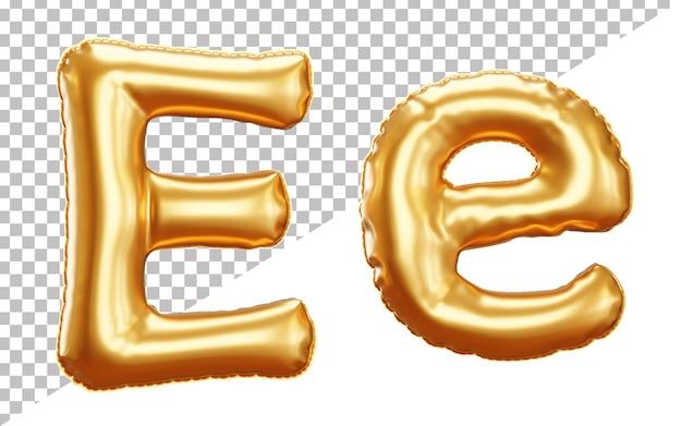 3d Render Złota Litera Balon Foliowy Alfabet E Wielkie I Małe Litery Premium Psd