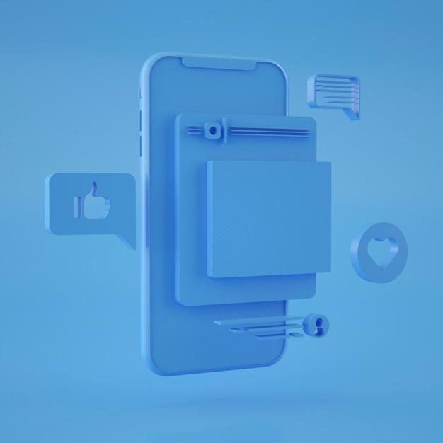 3d Rendering Abstrakcjonistyczny Smartphone Interfejs Premium Psd