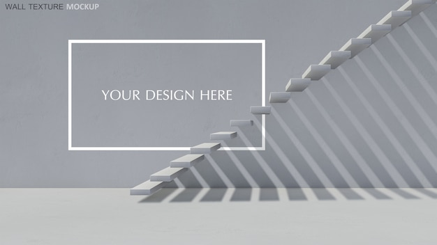 3d Rendering Betonowy Schodek Z Cieniem Na ścianie Premium Psd