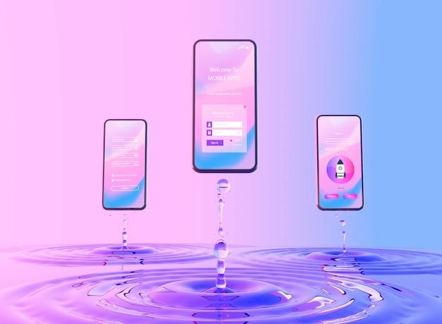 3d smartphone z efektem wody Darmowe Psd