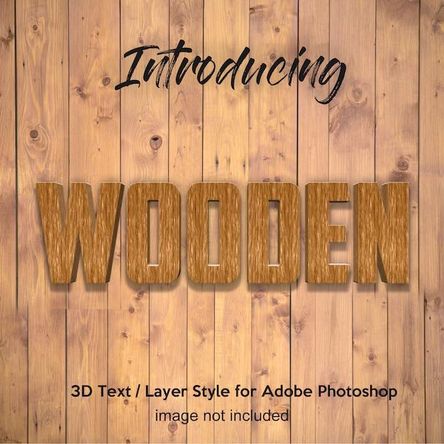 3d wood timber plank teksturowane efekty tekstowe w stylu photoshop Premium Psd
