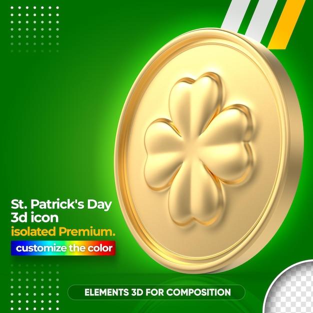 3d Złota Moneta Do Renderowania St Patrick's Day Premium Psd