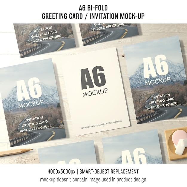 A6 bi-fold makieta z życzeniami z siedmiu Darmowe Psd