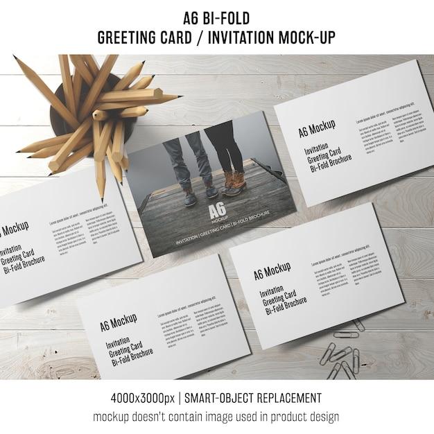A6 bi-fold szablon karty zaproszenie z ołówkami Darmowe Psd
