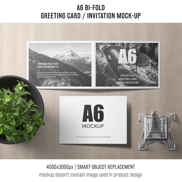 A6 bi-fold szablon karty zaproszenie z roślin Darmowe Psd