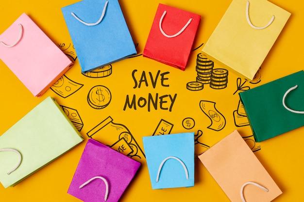 Abstrakcjonistyczna papierowej torby rama i oszczędzać pieniądze tekst Darmowe Psd