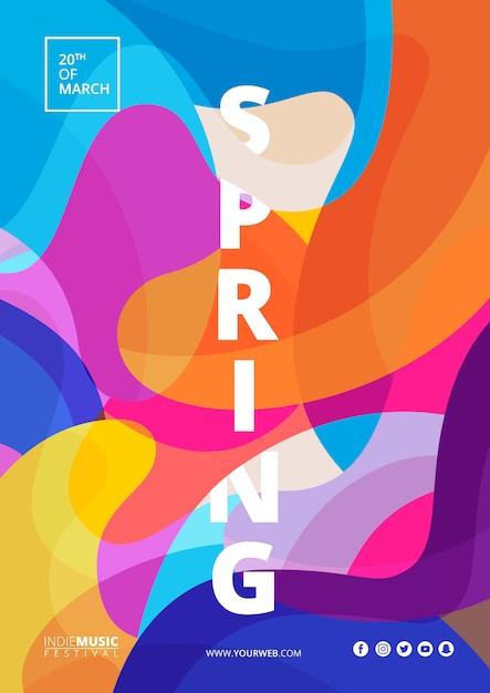 Abstrakcjonistyczny Kolorowy Plakat Wiosna Festiwal Premium Psd