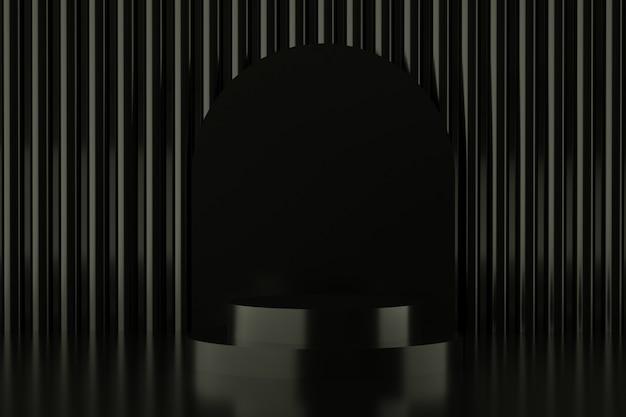 Abstrakcyjny Kształt Geometryczny W Czarnym Kolorze, Nowoczesny Minimalistyczny Wyświetlacz Na Podium Lub Prezentacja Premium Psd