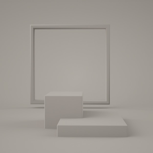 Abstrakcyjny Szary Kolor Geometryczny Kształt, Nowoczesny Minimalistyczny Wyświetlacz Lub Prezentacja Na Podium, Renderowania 3d Premium Psd
