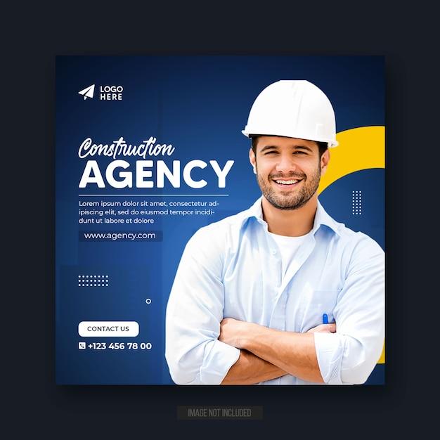 Agencja Budowlana W Mediach Społecznościowych Post Lub Baner Internetowy Lub Kwadratowy Szablon Ulotki Premium Psd