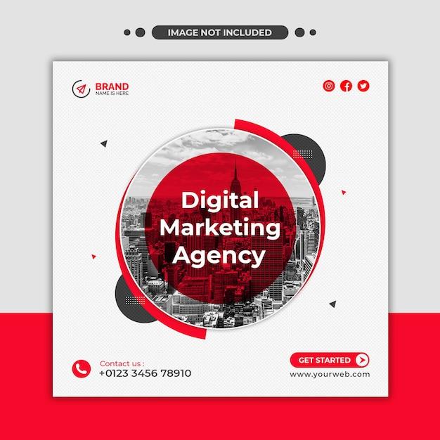 Agencja Marketingu Cyfrowego Baner Internetowy Lub Kwadratowy Szablon Ulotki W Mediach Społecznościowych Premium Psd