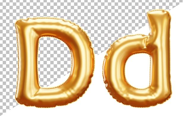 Alfabet Ze Złotymi Balonami W Kształcie Litery D W Stylu 3d, Wielkie I Małe Litery Premium Psd