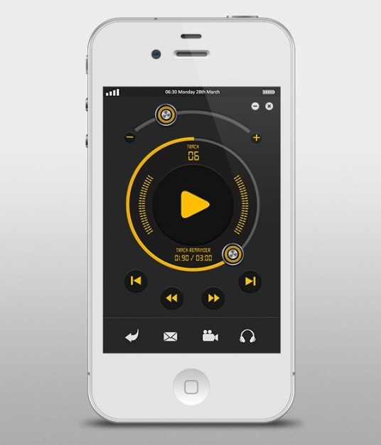 Apple muzyka interfejs użytkownika player Darmowe Psd