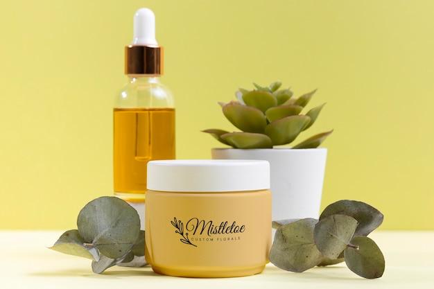 Aranżacja Kosmetyków Naturalnych Z Rośliną Darmowe Psd