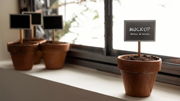 Aranżacja Ogrodnictwa Domowego Z Makietą Ramek Roślinnych Premium Psd