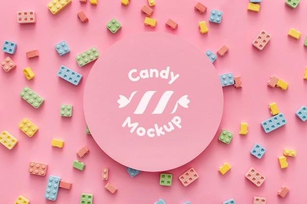 Aranżacja Słodkich Cukierków Z Makietą Darmowe Psd