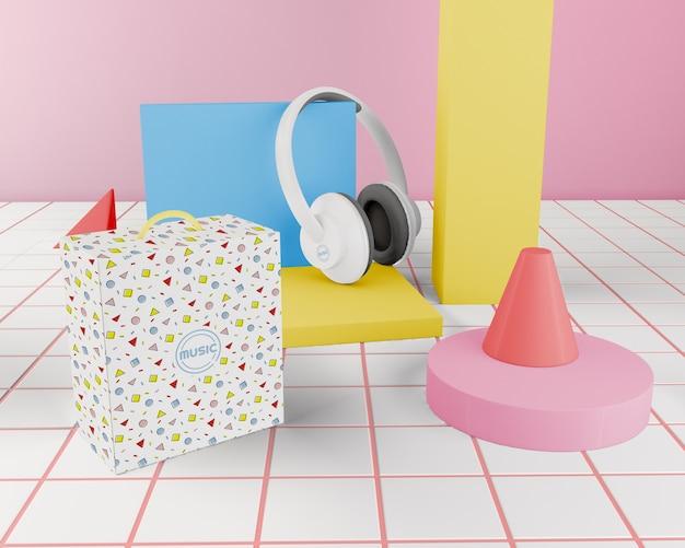 Aranżacja Z Kolorowym Zestawem Słuchawkowym Darmowe Psd