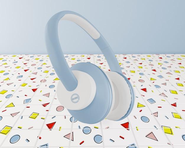 Aranżacja Z Niebieskimi Słuchawkami Darmowe Psd