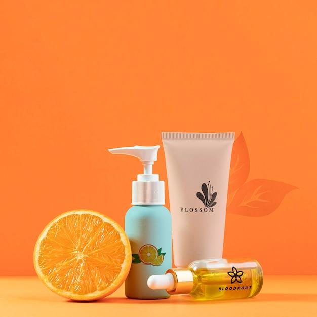 Aranżacja Z Pół Pomarańczy I Kosmetykami Darmowe Psd