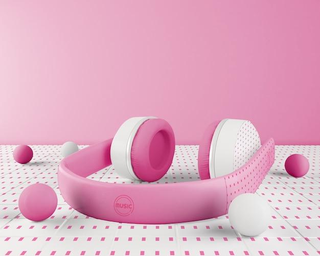 Aranżacja Z Różowo-białym Zestawem Słuchawkowym Darmowe Psd