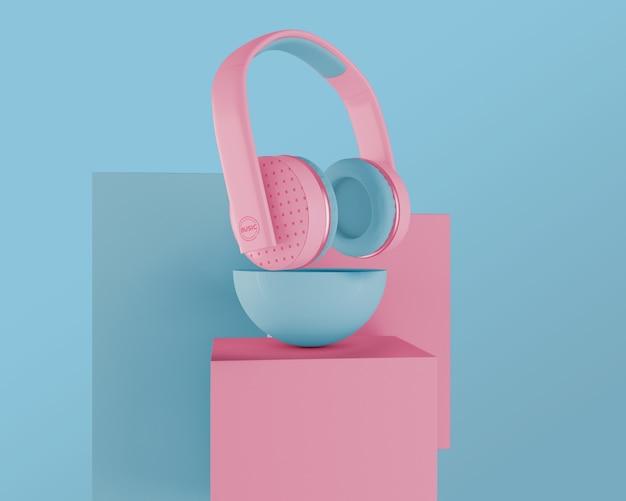 Aranżacja Z Różowymi Słuchawkami Darmowe Psd