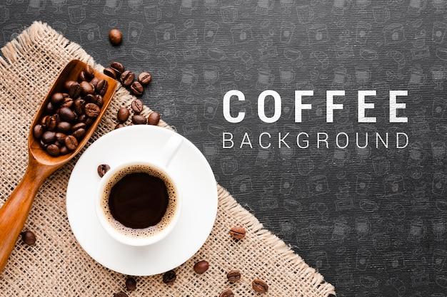 Aromatyczna Kawa Z Ziaren Kawy Tłem Darmowe Psd