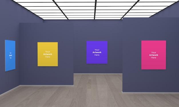 Art Gallery Frames Muckup 3d Illustration Z Szarą ścianą Premium Psd