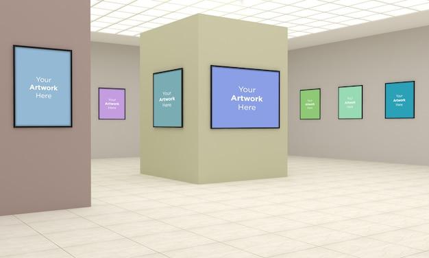 Art Gallery Frames Muckup Ilustracja 3d I Renderowanie 3d W Różnych Kierunkach Premium Psd