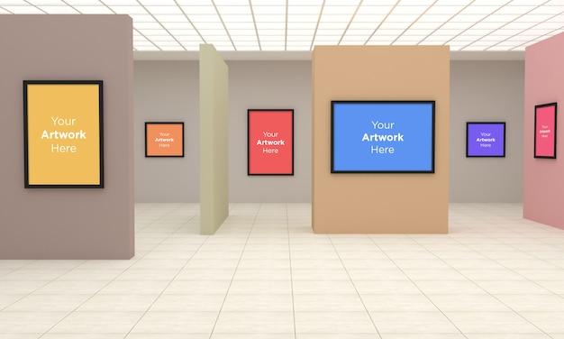 Art Gallery Frames Muckup Ilustracja 3d I Renderowanie 3d Z Inną ścianą Premium Psd