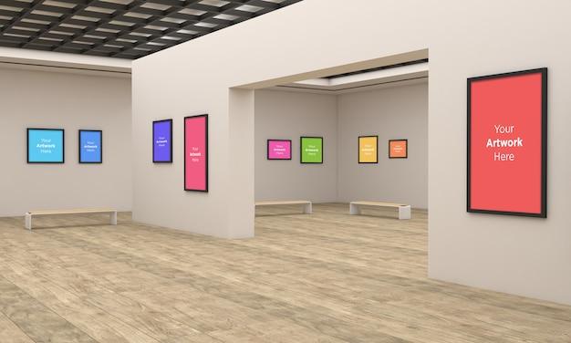 Art Gallery Frames Muckup W Wielu Kierunkach Ilustracja 3d I Renderowanie 3d Premium Psd