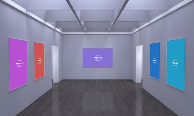 Art Gallery Frames Muckup W Wielu Kierunkach Ilustracja 3d Premium Psd