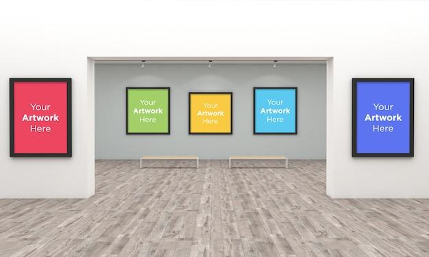 Art Gallery Frames Muckup Z Oświetleniem Punktowym Ilustracja 3d I Renderowanie 3d Premium Psd