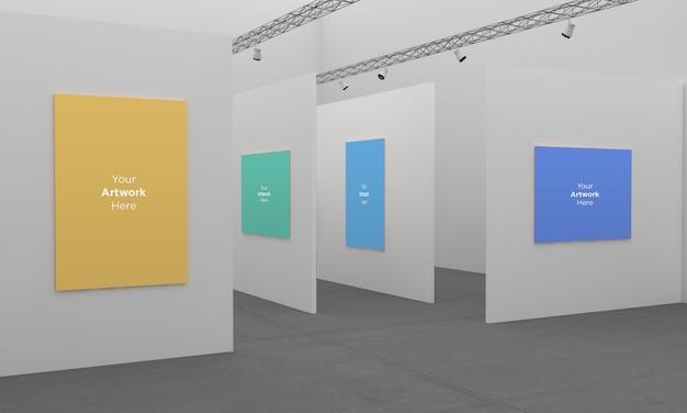 Art Gallery Frames Muckup Z Punktowymi światłami Ilustracja 3d Z Inną ścianą Premium Psd