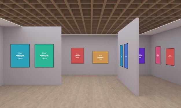 Art Gallery Frames Muckup Z Różnymi Kierunkami Ilustracja 3d I Renderowanie 3d Premium Psd