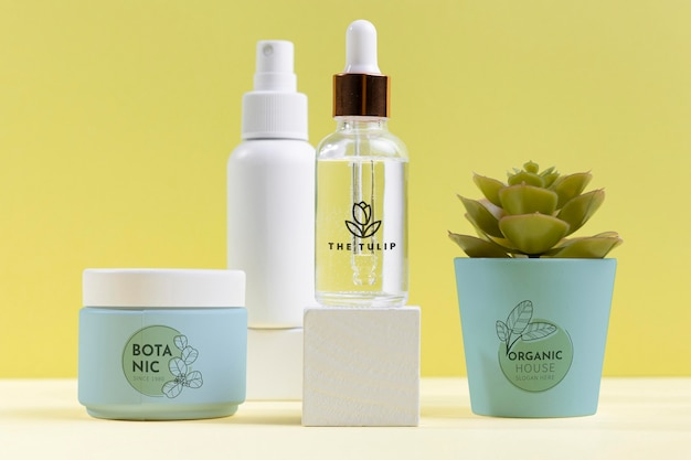 Asortyment Kosmetyków Naturalnych Z Rośliną Darmowe Psd