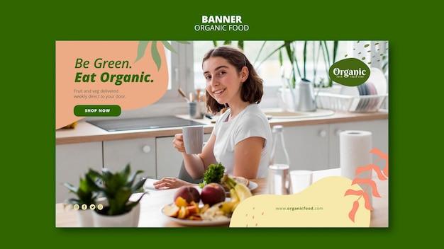 Bądź Zielony, Jedz Organiczny Szablon Sieciowy Banera Premium Psd