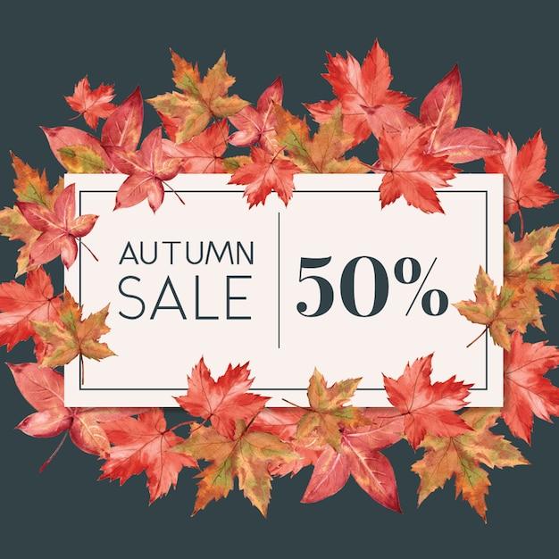 Baner o tematyce jesień z ramką liści Darmowe Psd