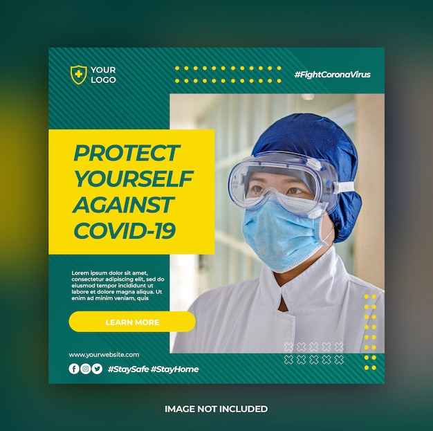Baner Opieki Zdrowotnej Lub Kwadratowa Ulotka Z Motywem Prewencyjnym Covid-19 Dla Szablonu Postu W Mediach Społecznościowych Premium Psd