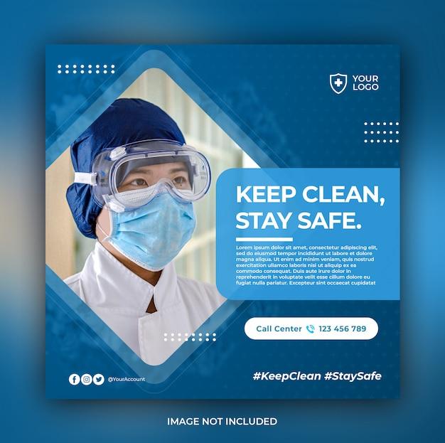 Baner Opieki Zdrowotnej Z Motywem Zapobiegania Wirusom Premium Psd