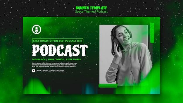 Baner Podcastu O Tematyce Kosmicznej Darmowe Psd