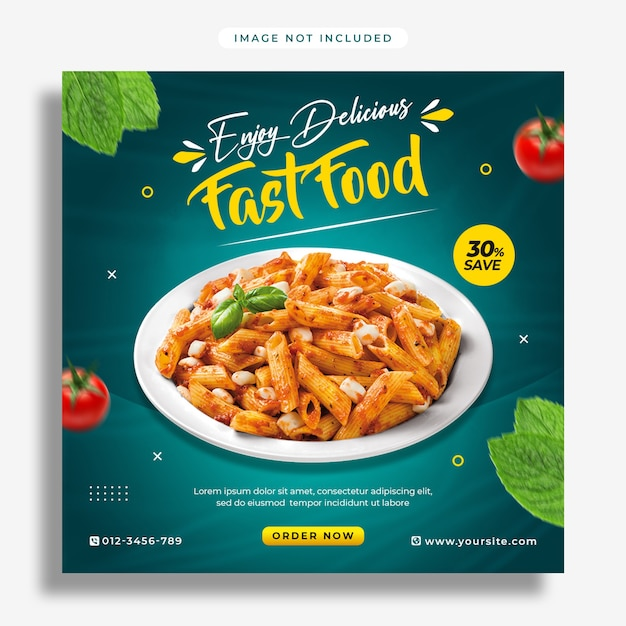 Baner Promocji Mediów Społecznościowych żywności I Szablon Projektu Postu Na Instagramie Premium Psd