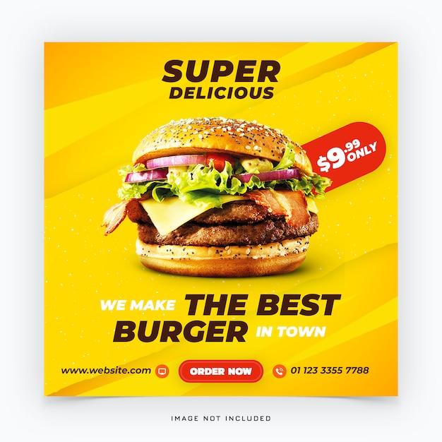 Baner Społecznościowy Fast Food Burger Premium Psd