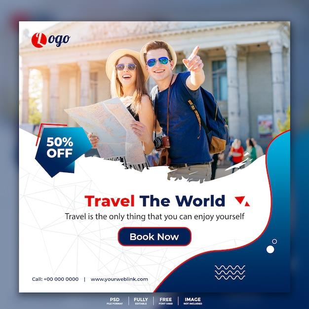 Baner społecznościowy post banner for travel Premium Psd