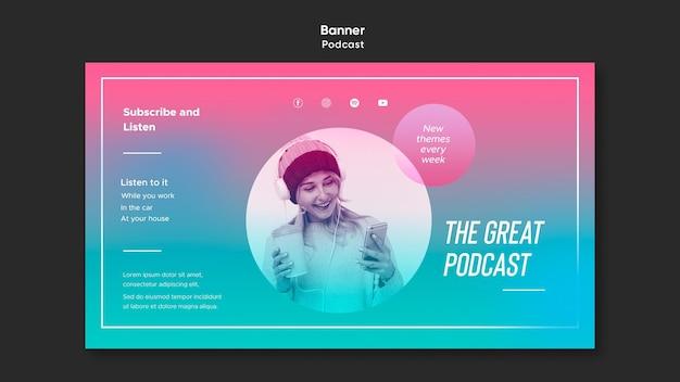 Baner Szablonu Podcastu Radiowego Darmowe Psd