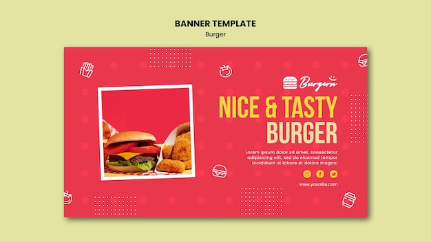 Baner Szablonu Restauracji Burger Darmowe Psd