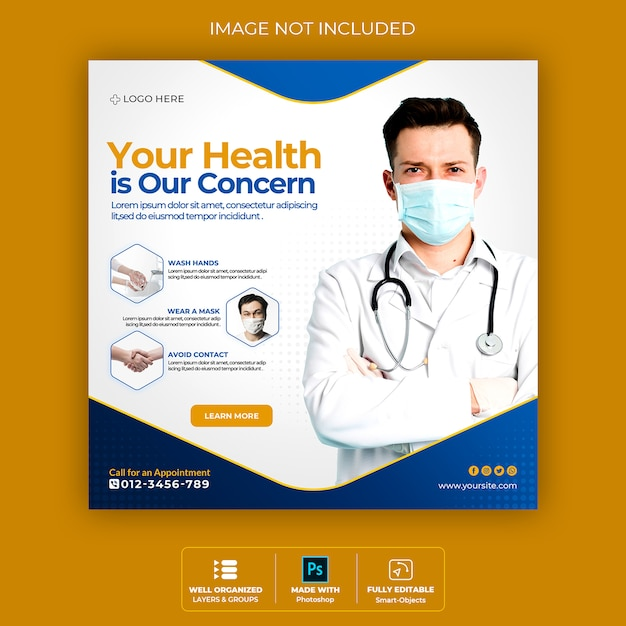 Baner Zdrowia Medycznego O Koronawirusie, Banner Społecznościowy Na Instagramie Premium Psd