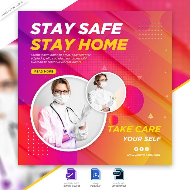 Baner Zdrowia Medycznego O Koronawirusie Covid-19, Szablon Baneru Społecznościowego Instagram Post Banner Premium Psd